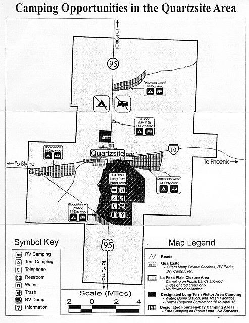 Map of Quartzsite BLM areas