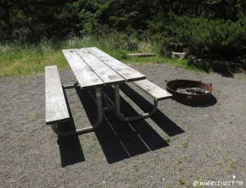 View of picnic table & fire-pit at each site.