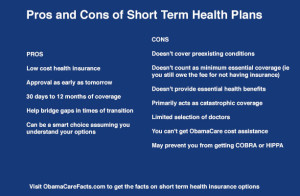 Short Term Plans Pros & Cons. From Obamacarefacts.com