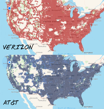 he cell carriers are getting better, but some areas are still iffy (from Coverage? App)