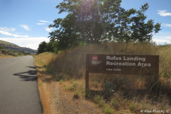 Entry to Rufus Landing Recreation Area. The road is paved out to the boondocking area.
