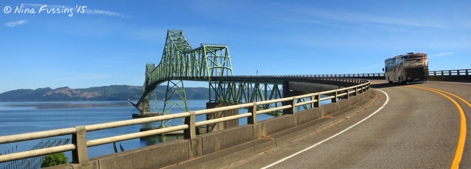 """The Beast"" crosses the Astoria Bridge, a steel cantilever through truss bridge that spans the Columbia River between OR & WA"
