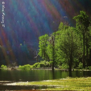 Early morning rainbow rays at Wallowa Lake State Park