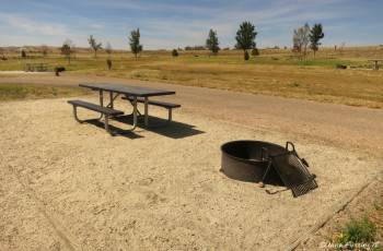 "Typical ""sitting area"" with picnic table and fire pit"