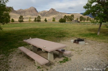 "View of typical ""sitting area"" with picnic table and fire-pit. This is in upper loop."