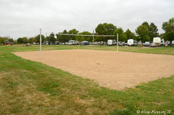 View of sand volleyball area.