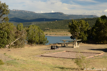 """Sitting area"" with picnic table and fire-pit. This is water-view site #52. It also has a tent spot."