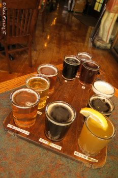 Beer flight at Prescott Brewing