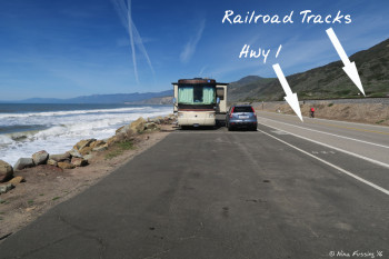 Front view of our site #119 showing ocean, Hwy 1 and the railroad tracks. The site in front of us (#120) was empty for this pic.
