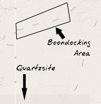Map showing general Plomosa boondocking area