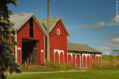 An old-style barn with gable roof