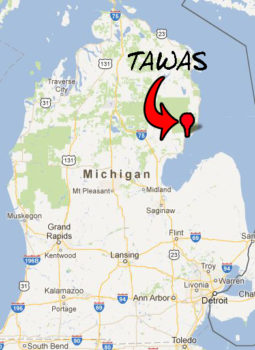 "Tawas sits on the eastern side of the Mi ""mitt"""