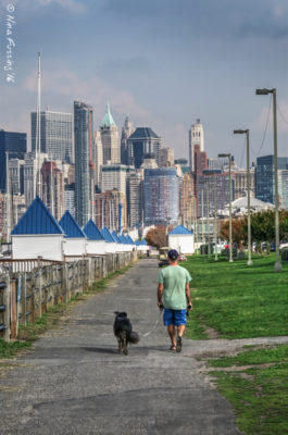 Walking Polly in Liberty State Park just down the way from the RV Park