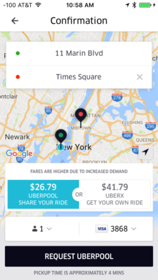 Screen shot of Uber to Times Square