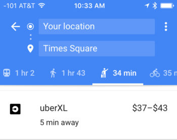 Google even shows you Uber & Lyft options!