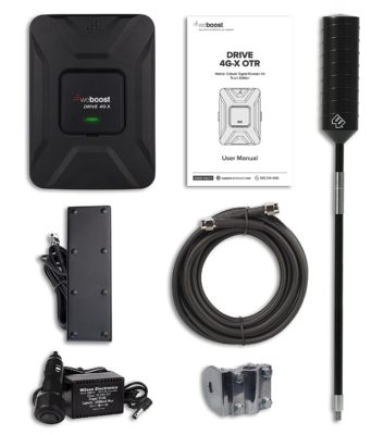 The Wilson OTR Kit components (Booster, External Antenna, Internal Antenna, Cable, Mount & Power Adaptor)